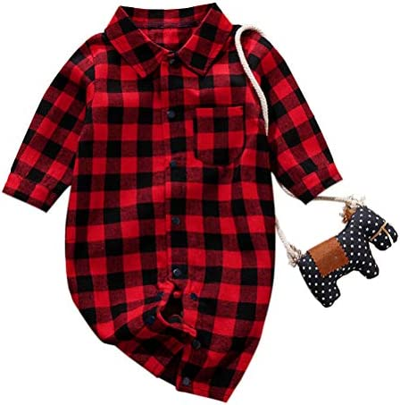 Camiseta de manga larga para bebé, para bebé, niño, camisa a cuadros, de algodón