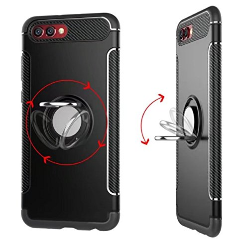 YAJIE-Carcasa Funda Para Huawei Honor V10 Armor Dual Layer 2 en 1 Heavy Duty funda protectora a prueba de golpes con 360 grados giratorio Finger Ring Holder y Magnet Car Holder Case ( Color : Blue ) Red