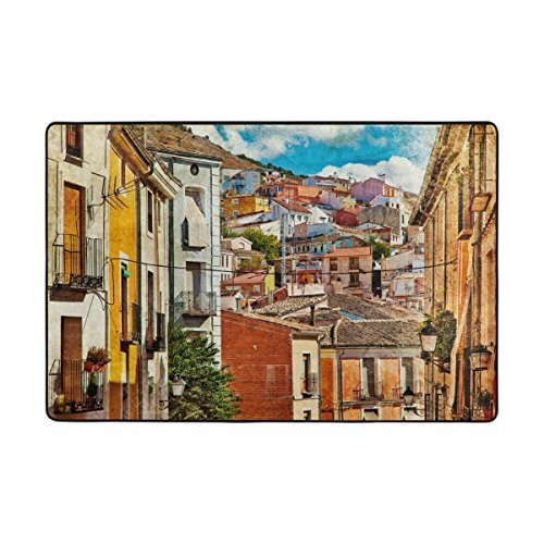 My Daily Colorful Spain Streets And Buildings Painting Area Rug 4 x 6 Feet, Living Room Bedroom Kitchen Decorative Unique Lightweight Printed Rugs by ALAZA