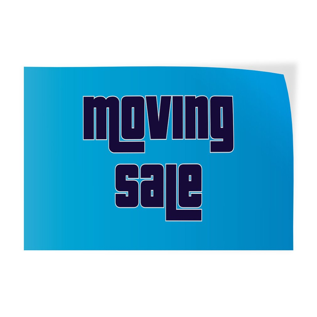 Set of 5 45inx30in Decal Sticker Multiple Sizes Moving Sale #1 Business Moving Sale Sign Outdoor Store Sign Aqua-Blue