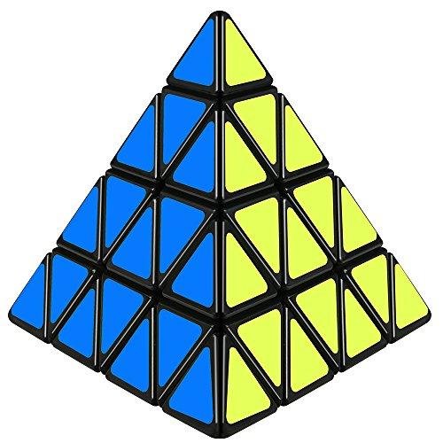 D-FantiX Shengshou 4x4 Pyramid Cube, Pyramid Speed Cube 4x4x4 Magic Cube Puzzle Toy Black