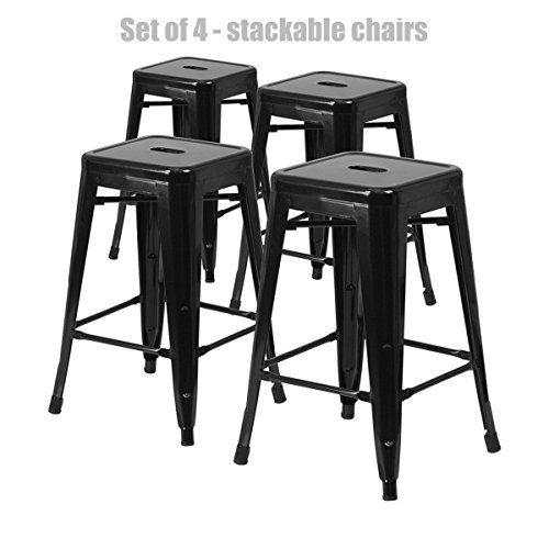Retro Classic Style School Office Kitchen Dining Room Chair Stackable Backless Metal Frame Stable Seats Indoor/Outdoor Bar Stools - Set of 4 - Modern Black #1049a (Dining Havertys Set Room Furniture)