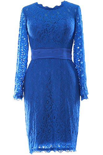 MACloth Women Long Sleeve Lace Short Cocktail Dress Wedding Party Evening Gown Azul Real