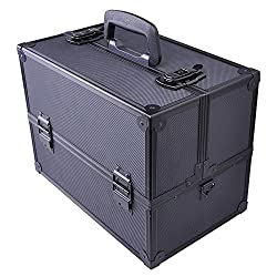 Makeup Cosmetic Aluminum Storage Case Box w Tiers Lockable Jewelry Bag Black