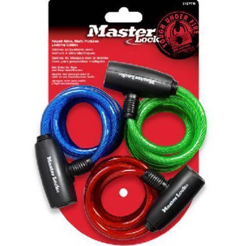 Master-Lock-8127TRI-3-Pack-6-Ft-Multi-Purpose-Keyed-Alike-Bike-Lock-With-8mm-Colored-Cables