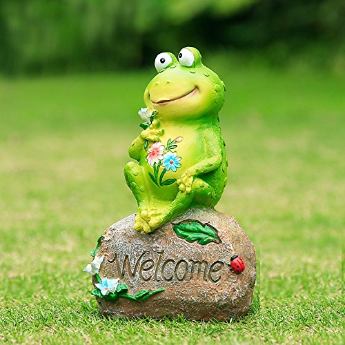 Agirlgle Frog Garden Statue Funny Outdoor Sculpture Resin Lawn Yard Ornaments Decor - Best Indoor Outdoor Figurines for Patio and House (Outdoor Frog Decor)