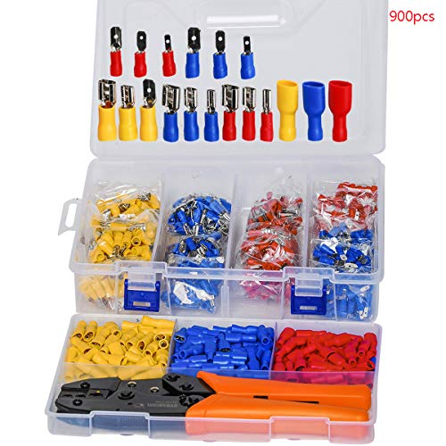 SaferCCTV 900pcs Insulated Electrical Wire Connector Terminals with Crimping Tool,Quick Disconnect...