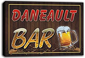 scw3-091470 DANEAULT Name Home Bar Pub Beer Mugs Cheers Stretched Canvas Print Sign
