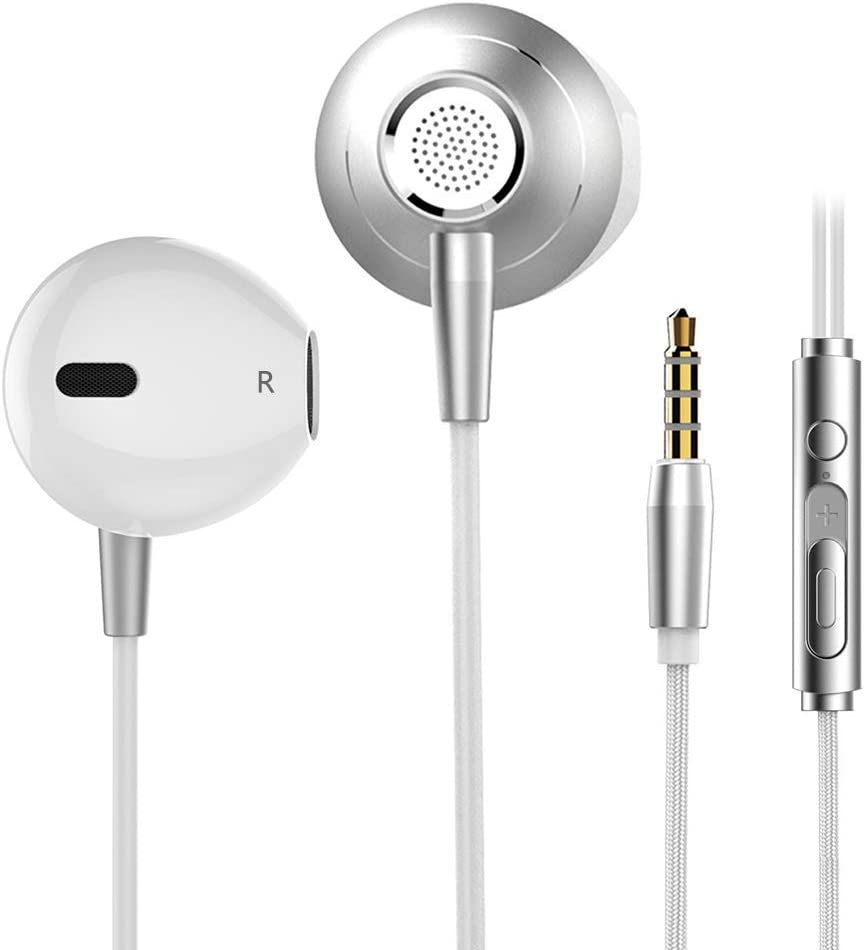 Noise Isolating in-ear Earphones Headphones with Mic and Volume Control Heavy Deep Bass Wired Earbuds for iPhone iPad iPod Samsung Galaxy Nokia HTC Nexus LG BlackBerry MP3 3.5mm Headset Silver