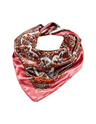 "Polytree Women Floral Scarf Imitated Satin Head Neck Large Shawl 35"" - Pink"