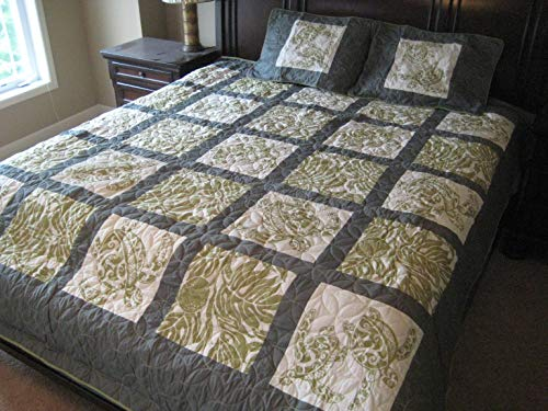 Hawaiian Comforter (Kauhale Living King Hawaiian Quilt Bedding Comforter 100% Cotton Patchwork with Two Pillow Shams)