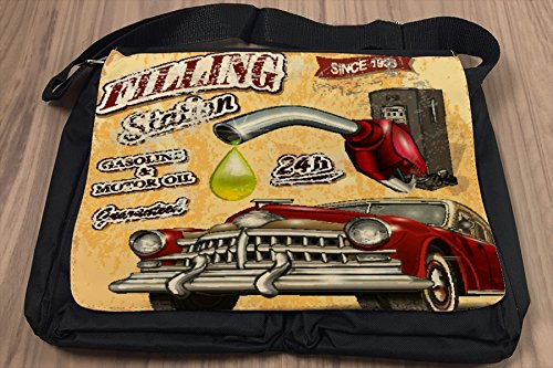 Umhänge Schulter Tasche Oldtimer Auto Retro Tankstelle bedruckt
