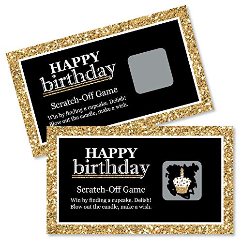 Big Dot of Happiness Adult Happy Birthday - Gold - Birthday Party Game Scratch Off Cards - 22 Count]()