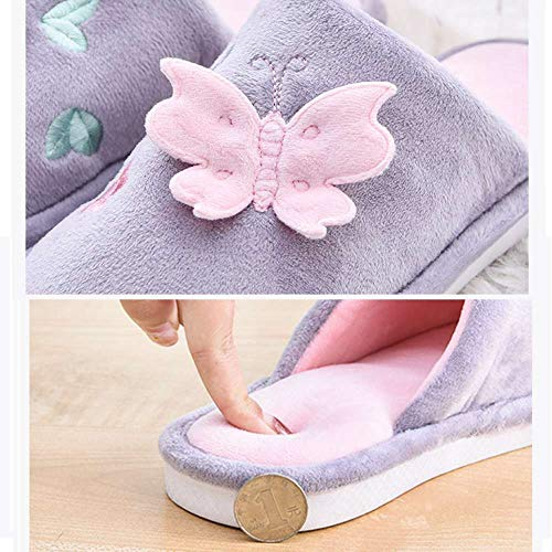 Embroidered Memory 1 Home Grey Women's Butterfly Velvet Shoes Foam Slippers qvwpE6Iw