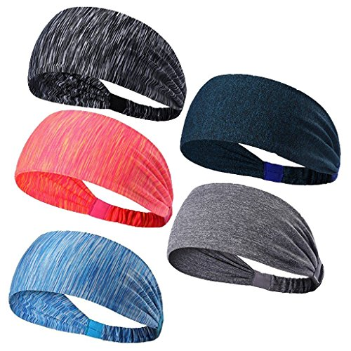 Sports Headbands-Sweatbands Hairband Moisture Wicking Stretchy Head Wrap for Running Cycling Yoga Crossfit Workout Fits Men and Women-5 PCS by Shinning Go
