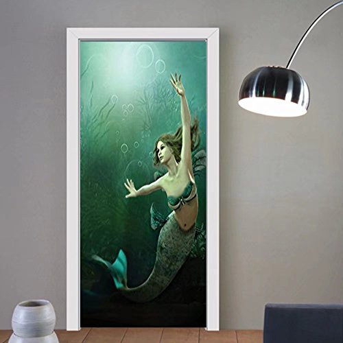 Gzhihine custom made 3d door stickers Mermaid Decor The Mermaid And Dolphins Underwater View FrieUIFhip Travel Diving Fin Sea Decor For Room Decor 30x79 by Gzhihine