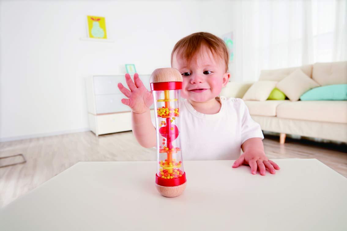 Hape Beaded Raindrops Rainmaker Toddler Musical Toy in Red E0327B