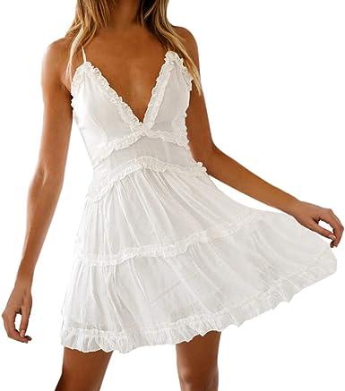 Vestidos Boho para Mujeres, Playa Vestidos Blancos sin Mangas ...