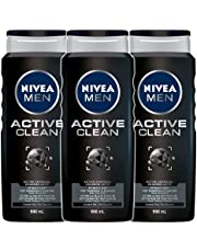 NIVEA Men Active Clean Shower Gel (3x500ml), Activated Charcoal Formula for Deep Cleaning, MENS BODY Wash and Face Wash for Ultimate Revitalization (Pack Of 3), Fresh & Masculine, 1 Count