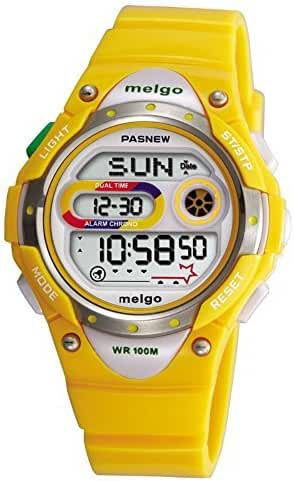 Pasnew LED Waterproof 100m Sports Digital Watch for Children Girls Boys (Yellow)