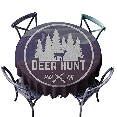 (ScottDecor Wedding Round Tablecloth Outdoor Picnics Hunting,Deer Hunt Emblem Design Pines with Antler Silhouette Snowy Mountains, Brown Blue and White Diameter 36