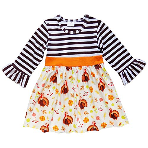 So Sydney Girls or Toddler Fall Holiday Polka Dot, Scroll, Stripe Pumpkin Dress (XS (2T), Turkey Stripe)