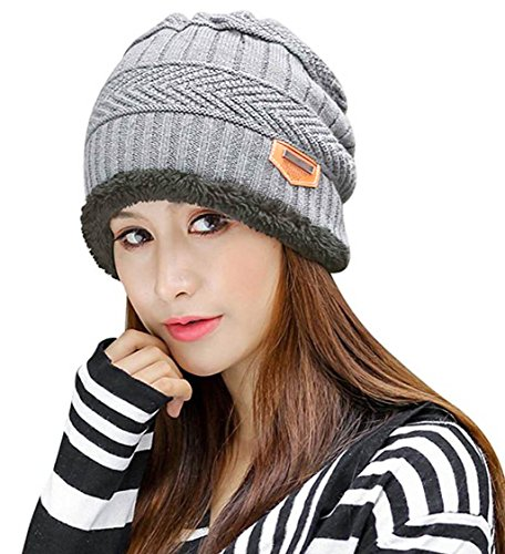 Fleece Ski Hat (HindaWi Slouchy Beanie For Women Skull Caps Winter Warm Snow Ski Knit Hats Light Grey)