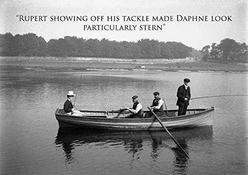 Fishing themed greeting card. Featuring vintage photograph of man fishing with rod from boat. A5 large size with envelope. Blank on the inside for an (Fishing Photograph)