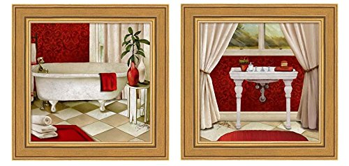 Red Bain I by Elizabeth Medley, 2 Piece Frameed Art Set in Gold Frames, 10 X 10 Each, Bathroom - Bain Of Pictures