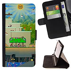 For LG G3 Mario Gaming Level Leather Foilo Wallet Cover Case with Magnetic Closure