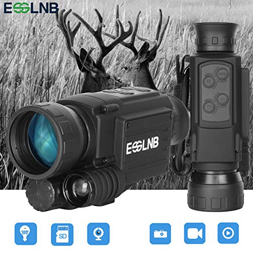 ESSLNB Night Vision Monocular 40mm Night Vision Infrared Scope for Night Hunting 4.5X Digital Night Vision IR Camera 656ft LCOS Screen 8GB TF Card Recording Image and Video Playback Function ()