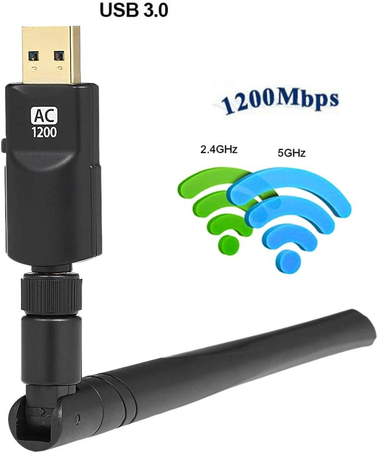 Dual Band 802.11Acbgn 1200Mbps Wireless USB 3.0 WiFi LAN Adapter 2.4G//5Ghz with Antennas for Laptop Desktop Computer
