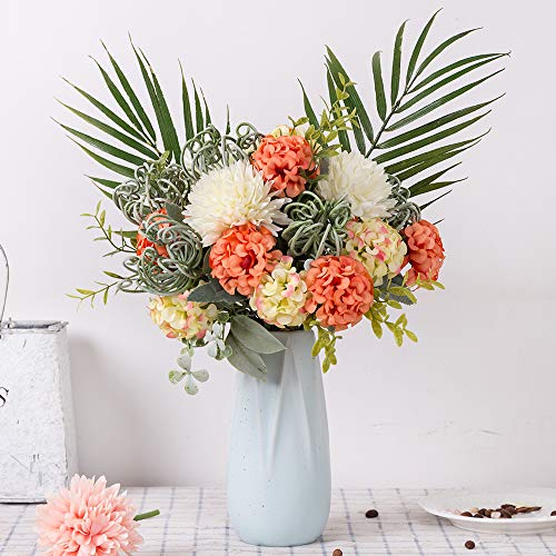 FENGRUIL Artificial Hydrangea Flowers Fake Silk Hydrangea Flower Bouquets Decoration for Wedding Home Office Table Party (Sunset) ()