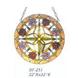 HF-251 22 Inch Vintage Tiffany Style Handmade Stained Glass Church Art Roses Design Window Hanging Glass Panel Suncatcher