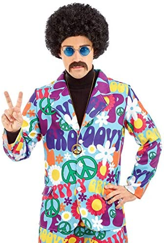 Mens Groovy Stand Out Suit Hippy Psychedelic 1960s Peace Fancy Dress Outfit New