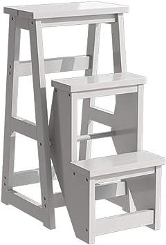 Katxay Taburete Moderno Multifuncional, Escalera de Biblioteca, Muebles de Biblioteca, Taburete Plegable de Madera, Escalera de Escalera para el hogar, Blanco, 3 Layers Plus Height: Amazon.es: Hogar