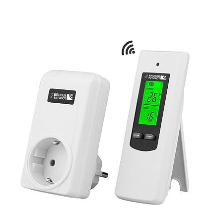 termostato inalámbrico de Brudek Infrarot, con 2x pilas AAA, para calefacción de infrarrojos,