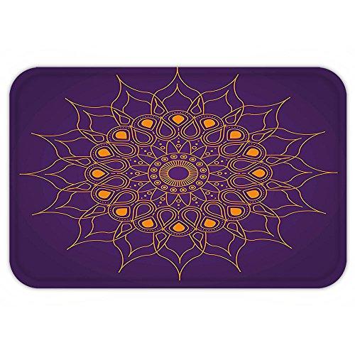 VROSELV Custom Door MatPurple Mandala Mystic Sun Inspired Pagan Style Circle Cultural Icon Folk Culture Illustration Marigold Christmas Tree Is Not Pagan