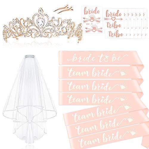 Konsait Rose Gold Pink Bachelorette Party Decorations Kit - Bridal Shower Supplies | Bride to Be Team Bride Sash, Rhinestone Tiara,Veil with Comb+ Bride Tribe Flash Tattoos,Wedding Bridal Shower