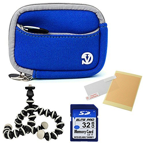 VanGoddy Mini Glove Sleeve Pouch Case for Leica C-LUX 3 V-Lux 20 Leica C (Typ112) Digital Cameras (Magic Blue) + Screen Protector + Tripod Stand + 32GB Memory Card