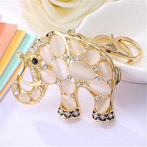 Axmerdal Girl Women Opal Rhinestone Oval Pearl Elephant Keychain, Purse Bag Charm, Handbag Accessories, Car Key -