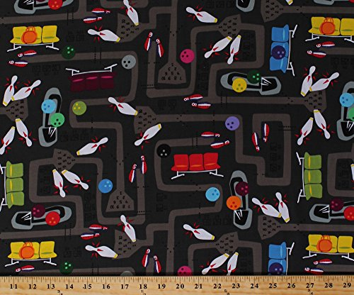 cotton-kingpin-bowling-alley-pins-pin-balls-shoes-bowling-equipment-cotton-fabric-print-by-the-yard-