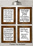 Winnie the Pooh Quotes and Sayings - Set of Four Photos (8x10) Unframed - Great Gift for Nursery Rooms, Boy's Room or Girl's Room Decor