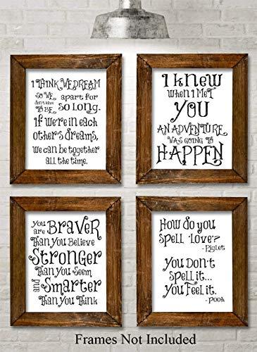 Winnie the Pooh Quotes and Sayings Art Prints - Set of Four