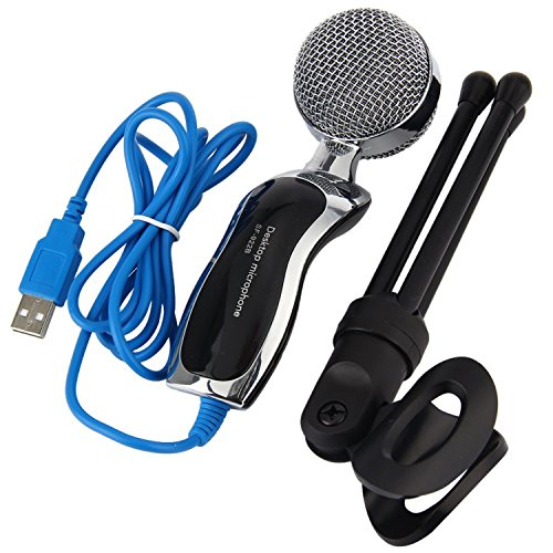 Chrome Lav Plug (Professional Stereo Plug Studio Speech Condenser With Stand Mic, Perfect Voice Sound Desktop Mic Stand, Clip. Portable And Practical.)