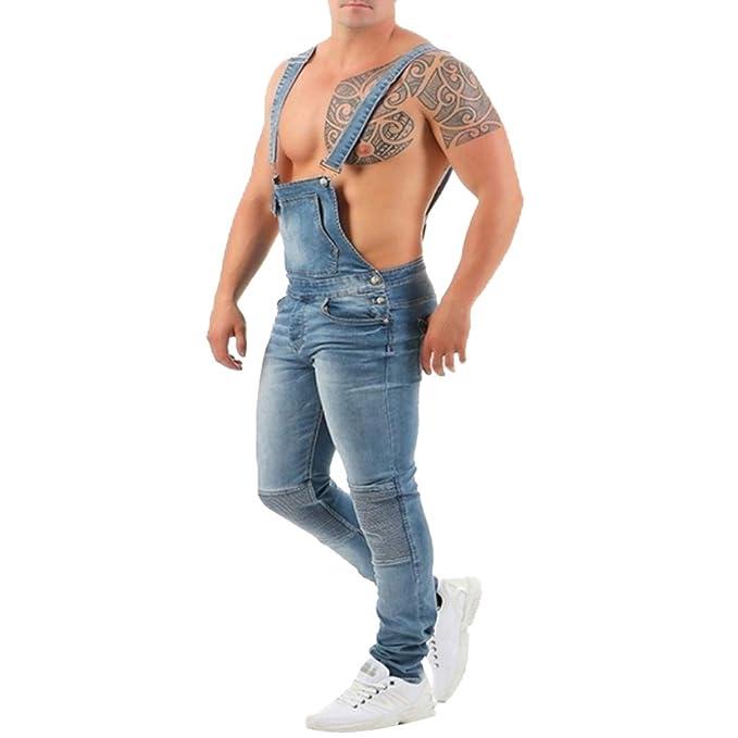 Juleya Pantalones de Mezclilla para Hombres Peto de Babero ...