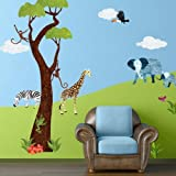 My Wonderful Walls Repositionable and Removable Jungle Wall Stickers for Baby Room, Multicolored