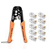 ELUTENG Crimping Tool Network Cable Pliers for 6P, 8P and RJ45, RJ11 Network Cables Cutting and Stripping Tool (New Style) with 10pcs RJ 45 Network Cable Connection Crystal Head