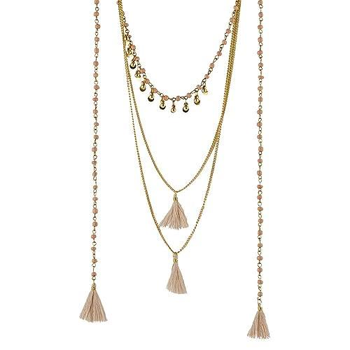 4e0f8373d828 LuckyLy – Collares Modernos Largos con Varias Capas – Acero Inoxidable con  Baño Color Oro –