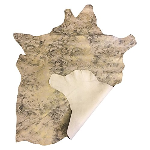 - Soft Beige Leather Hide - Camouflage Print - 5 sq ft - AVG 26¨x 24¨ at Longest and widest - Genuine Real Lambskin - DIY Craft Fabric - Upholstery Projects Trim and Repair - Home Décor Material